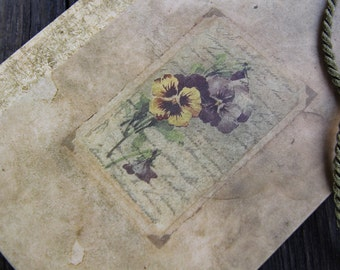 "Hand bound notebook, journal, diary, antique journal diary in a flowery tone...: ""A flower's touch"""