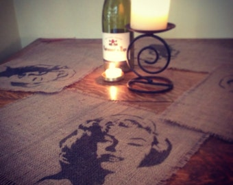 Hessian Marilyn Monroe Placemats