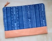 Indigo Ikat and Leather Laptop Case - Coral
