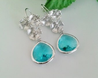 10% discounted  Blue glass stone silver earrings,cherry blossom silver earrings,wedding jewelry,bridesmaid gift,
