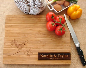 Personalized Cutting Board Couple's Anniversary Gift  Wedding Gift Wedding Cake Riser House Warming Party or Hostess Gift