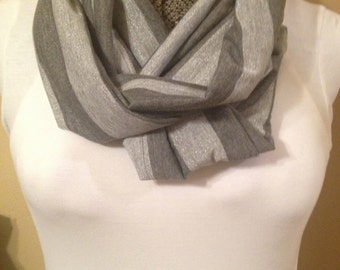 Dark Gray Light Gray Knit Jersey Stripe Infinity Circle Loop Eternity Scarf
