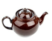Brown Teapot - Made in England - Alcock Lindley and Bloore - Brown Betty - ALB Pottery