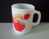 Vintage Anchor Hocking (Maker of Fire King) Coffee Mug, Apple Dumpling, From Strawberry Shortcake Collection