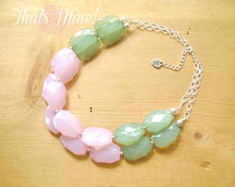 Pink and Green necklace, Pink and green color block necklace