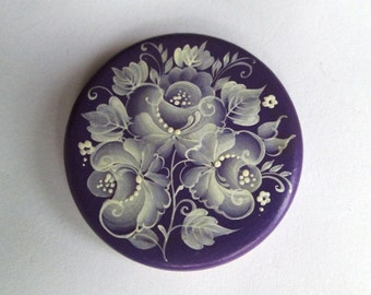 """1 piece 50 mm wood cabochon """"Bouquet of grace"""" hand painted Shabby Chic"""