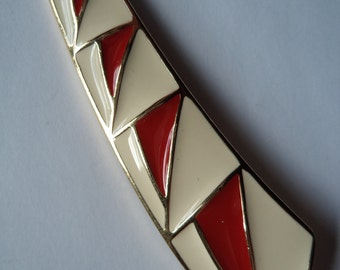 Vintage Brooch/Pin Fabulous Red and White Abstract
