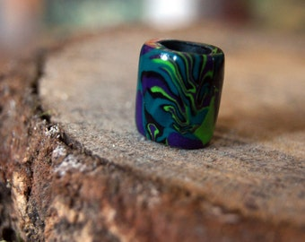 Green, Purple and Black Trippy Psychedelic Polymer Clay Dreadbead