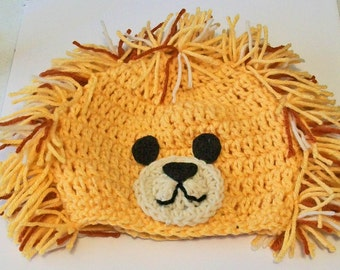 Fun Shaggy Lion Hand Crocheted Baby and Childrens Hat Great Photo Prop 5 Sizes Available