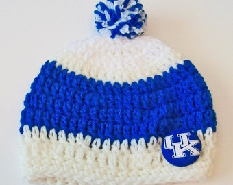 Kentucky Wildcats Inspired Blue and White Hand Crocheted Baby and Childrens Pom Pom Hat Great Photo Prop 5 Sizes Available