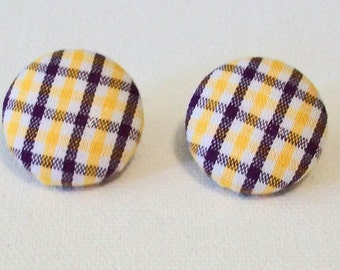 Fun Purple Gold and White Plaid Stripe Fabric Button Pierced Earrings