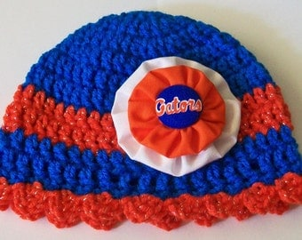 Florida Gators Inspired Orange and Blue Hand Crocheted Baby and Childrens Scalloped Edge Hat Great Photo Prop 5 Sizes Available