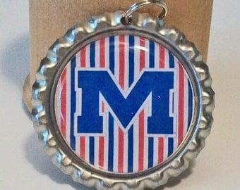 Fun Ole Miss Rebels Inspired Blue and Red Stripe M Flattened Bottlecap Pendant Necklace