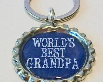 Navy Blue World's Best Grandpa Grandfather Metal Flattened Bottlecap Keychain Great Gift