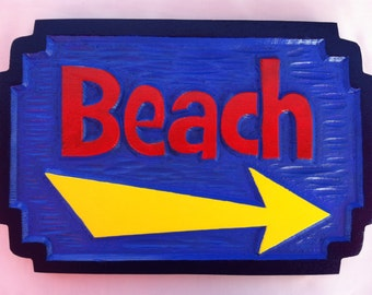 Carved Directional Beach Sign