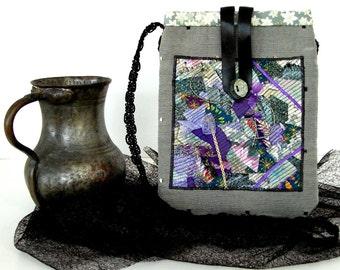 Grey Shoulder Bag - Green & Purple Collage