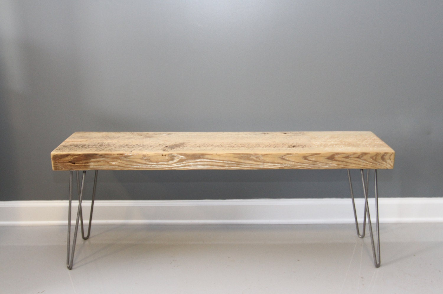 Reclaimed Wood Bench Hairpin Legs Shipping Lifetime By Dendroco
