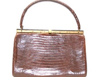 Gorgeous Brown Lizard Reptile Leather Kelly Hard Frame BELLESTONE True Vintage 1950's leather lined handbag purse