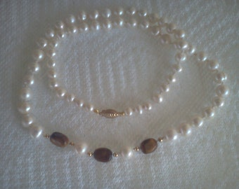 tiger eye and pearl necklace handmade
