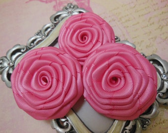 3 Pk Handmade Satin Roses in Hot pink (1.5-1.75 inches) for DIY hair accessories and other DIY projects