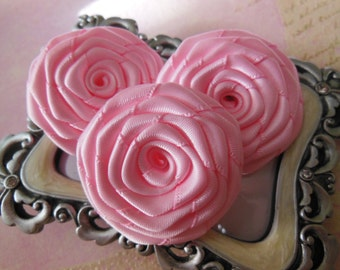 3 Pk Handmade Satin Roses in Pink (1.5 inches) for DIY hair accessories and other DIY projects
