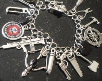 Zombie Bracelet - ZOMBIE APOCALYPSE Charm Bracelet - Horror Bracelet - READY to Ship