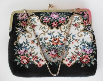 Vintage Tapestry Rose Needle Point Black 50s 60s Clutch Handbag Chain Strap