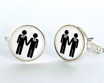 Gay Wedding Cufflinks -  Gay Wedding Gift - Civil Partnership Gift - Groomsmen Gift