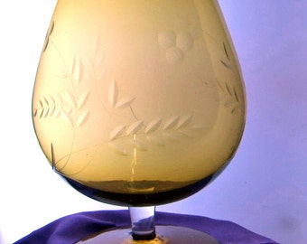 Large amber engraved 1960s/70s Bohemian glass brandy glass/vase