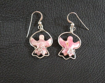 Pink Stone Angel Earrings