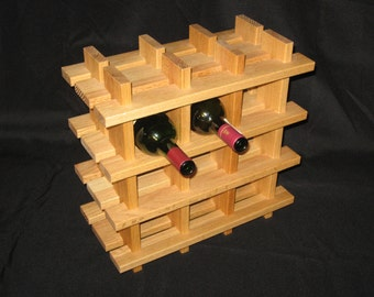 12 Bottle Oak Wine Rack