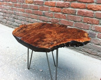 SOLD   Claro Walnut Burl Live Edge Side Table With Amazing Figuring