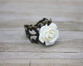 Shirley Creamy Ivory Rose Vintage Inspired Adjustable Filigree Ring, Cocktail Ring, 1930s