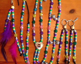 """Rhythm Beads Complete Set - Includes Rhythm Beads Necklace, 2 Saddle Dangles, and 1 Mane Clip - """"Dancing Queen Modified"""""""
