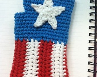 Captain America Fingerless Gloves Pattern