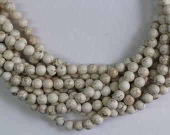 "White Turquoise  8mm smooth round beads 16"" length full strand"