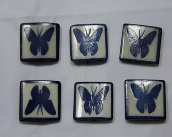 6 pcs Batik Bone Butterfly Rectangle Beads