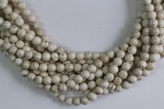"""White Turquoise  8mm smooth round beads 16"""" length full strand"""
