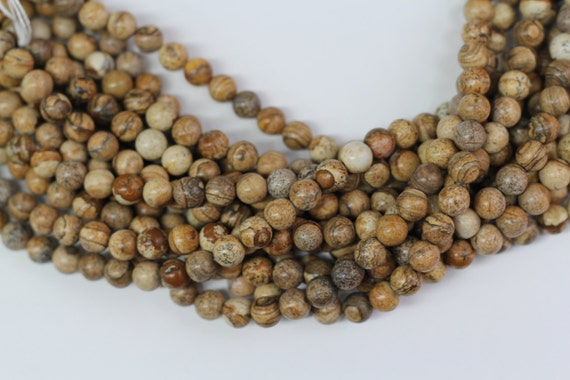 "Picture Jasper 8mm smooth round beads 16"" length full strand"