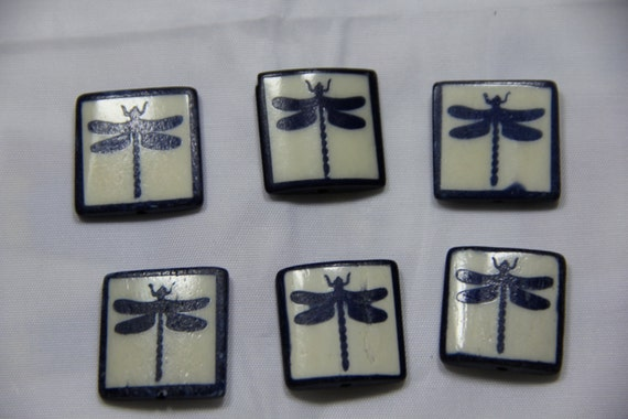 6 pcs Batik Bone Dragonfly Rectangle Beads