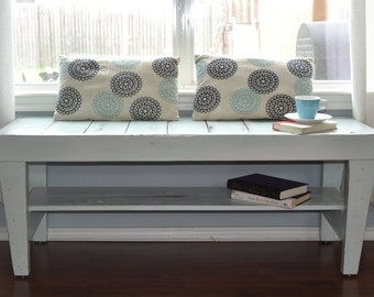 Handmade White Wood Bench for Justina