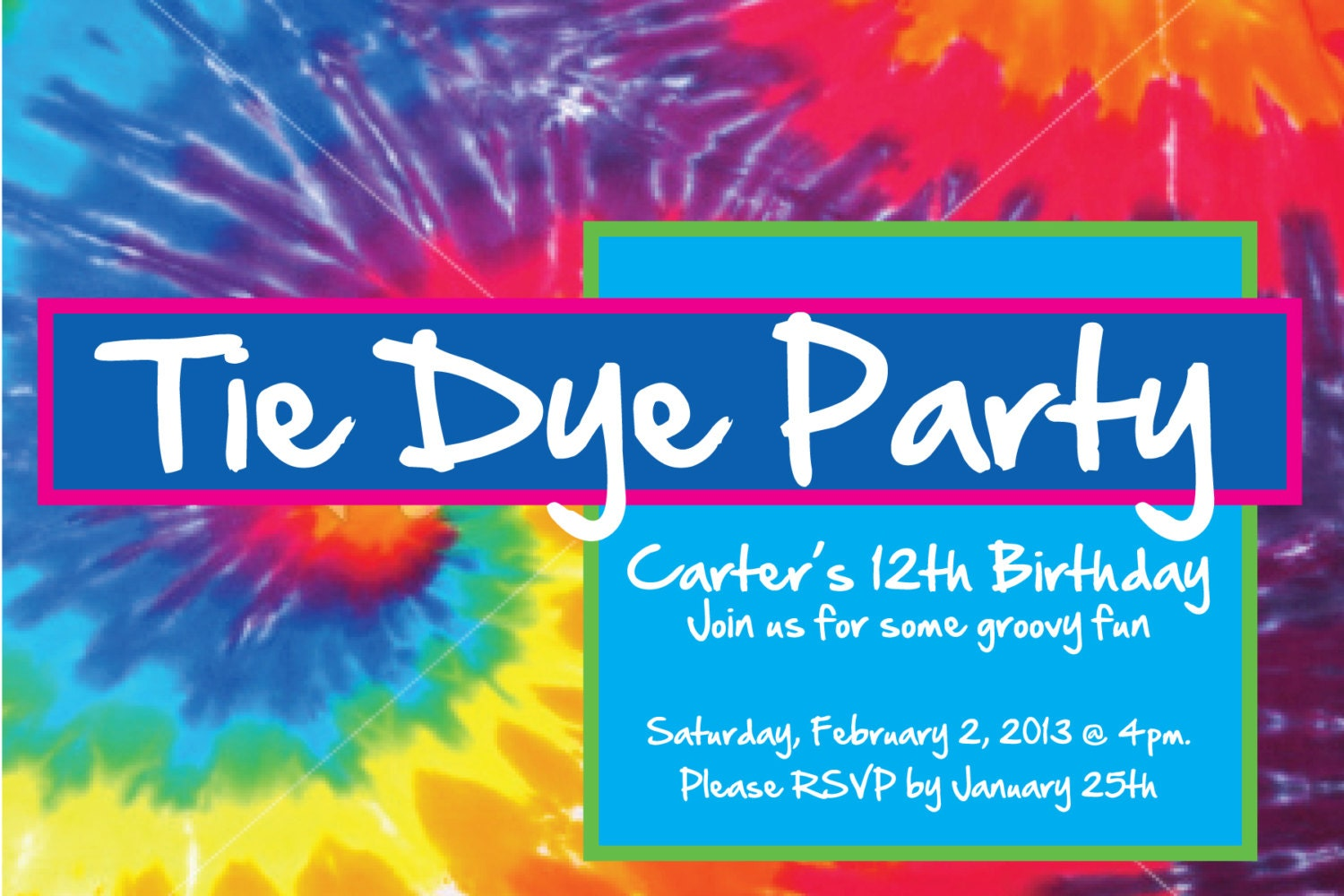 tie dye birthday invitations - Pertamini.co