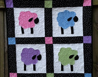 Quilted Wall Hanging of Four Sweet Sheep