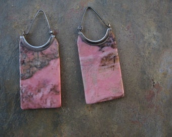 Estate, Sterling Silver & Rhodonite Long Rectangle Earrings. Rare Find