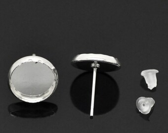 50 Silver Plated Earring Post - 25  Pairs -Cabochon Settings - rubber backs - fits 10mm cabochon - earring studs diy jewelry