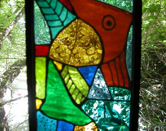 Fish 2 Lead Free Stained Glass Window Panel