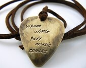 Guitar Pick Necklace, Where Words Fail Music Speaks, Hand Stamped Necklace, Christmas Gift For Friend, Father's Day