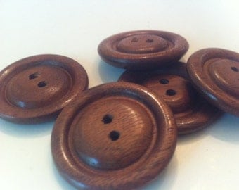 "Wooden buttons, Handmade, Walnut,  1 3/8"" diameter"