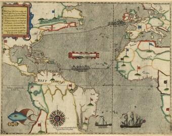 Sir Francis Drake Voyage Map, 1588