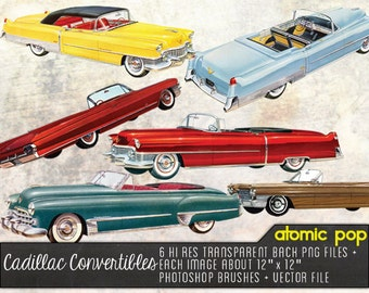 Vintage Cadillac Convertibles // Instant Download // Digital File Photoshop Brushes // Vector // Graphic Design